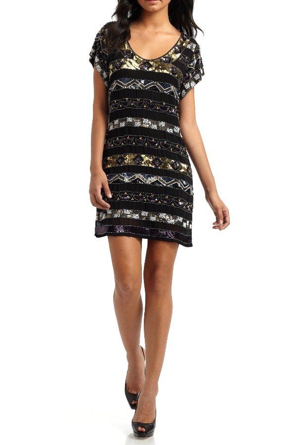 French Connection Black Carnival Sequin Shift Dress