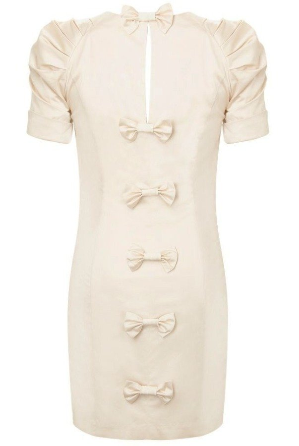French Connection Caramel Cotton Dress in Cream