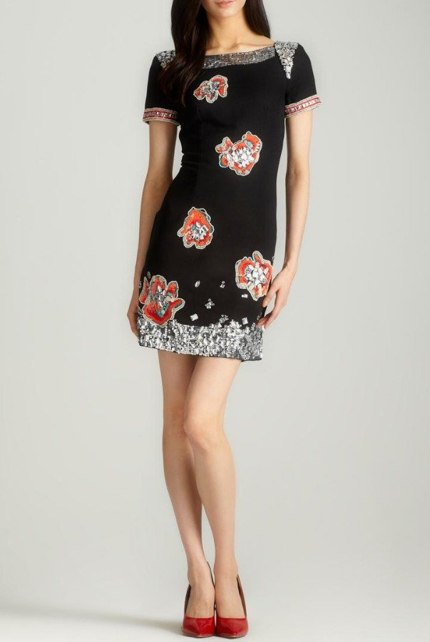 French Connection Sequin Embellished Black Lindsey Cap Sleeve Dress