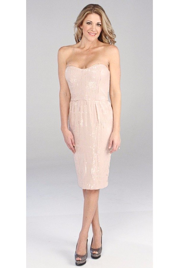 French Connection Spicy Sequins Sleeveless Dress in Blush Light Pink