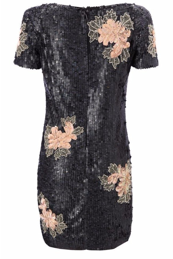 French Connection Violet Thunder Black Flower Sequin Dress