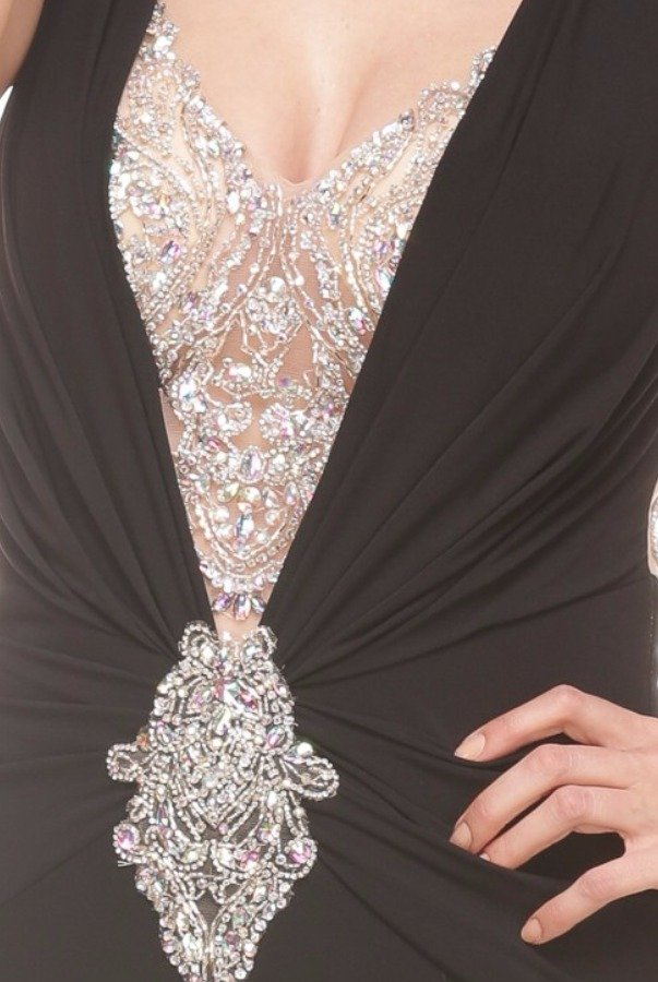 Jasz Couture Black Plunging Evening Gown