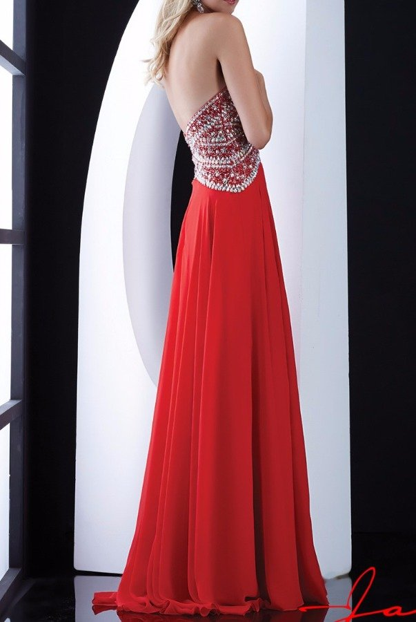 Jasz Couture Crystal Glimmer Sweetheart Evening Dress 5416 Red
