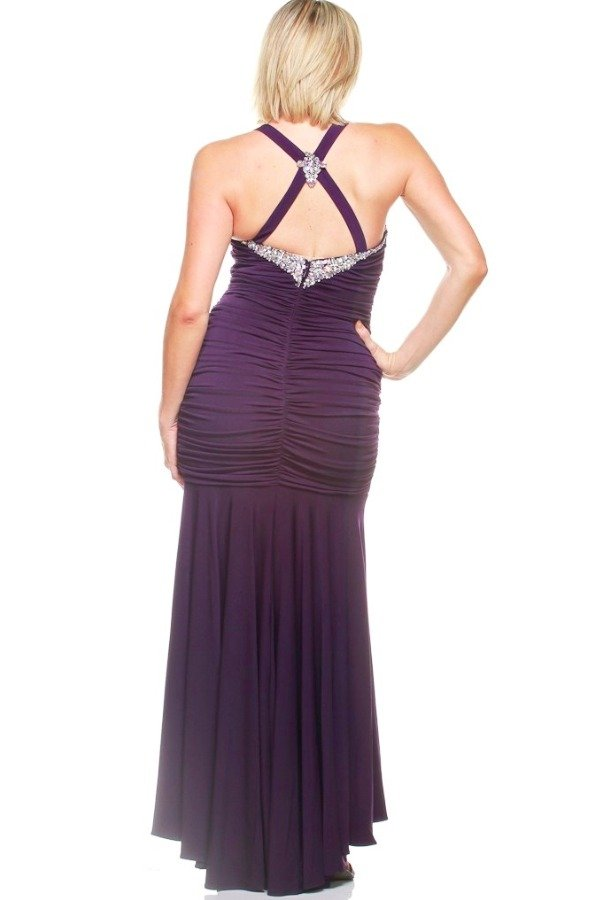 Jasz Couture Crystal Encrusted Purple Gown Evening Dress