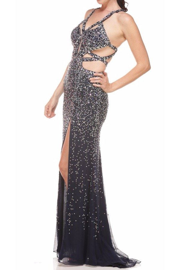 Jasz Couture Fantasy Sparkle Cutout Evening in Navy
