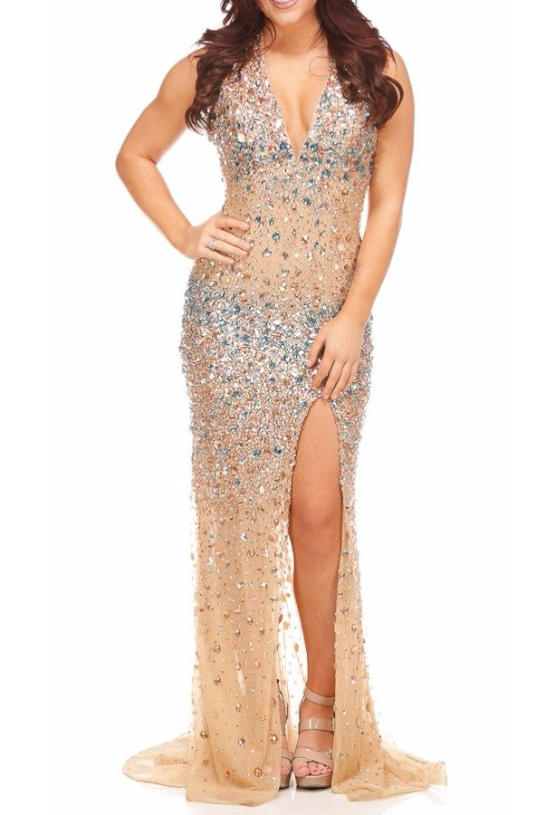 Jasz Couture Halter Style Jeweled Nude Gown Dress  Nude Gold