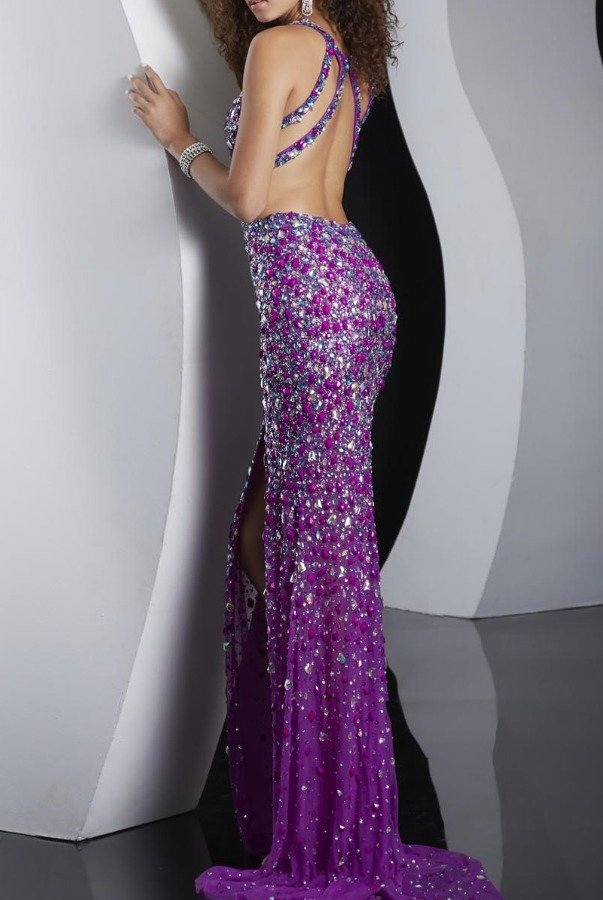 Jasz Couture Moonlit Sparkle Dress Cutout Open Back Slit Gown 4109D