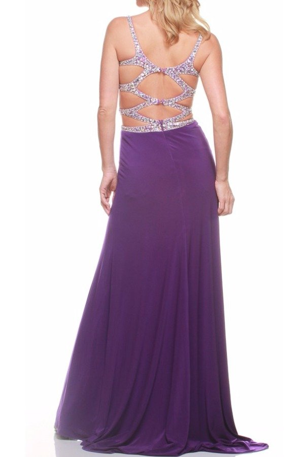 Jasz Couture Purple Cutout Beaded Prom Dress Evening Gown