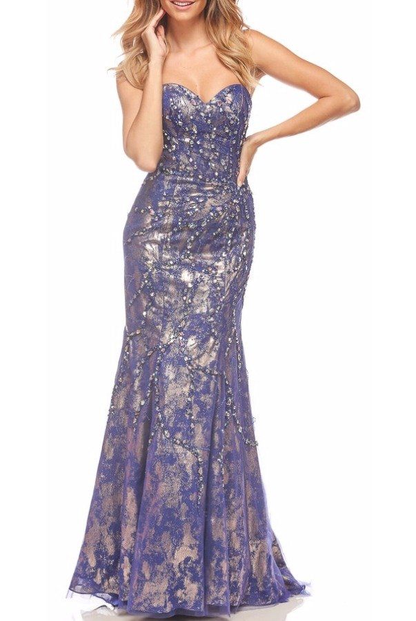 Nina Canacci Strapless Shine Lace Evening Gown Dress Blue 9056