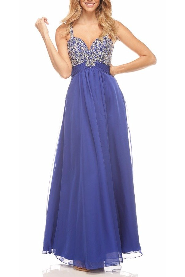 Nina Canacci Sizzle Beaded Empire Royal Blue Gown Dress 7310