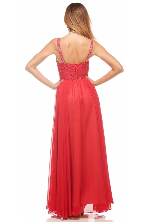 Nina Canacci Sassy Beaded Empire Gown dress Red 1104