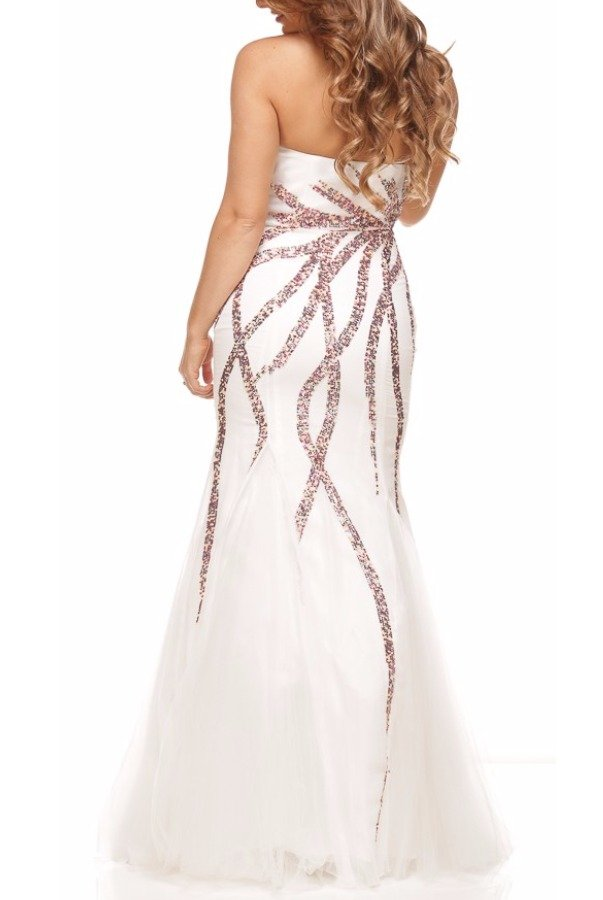 Nina Canacci Embellished Fit-and-Flare White Gown Dress 3011