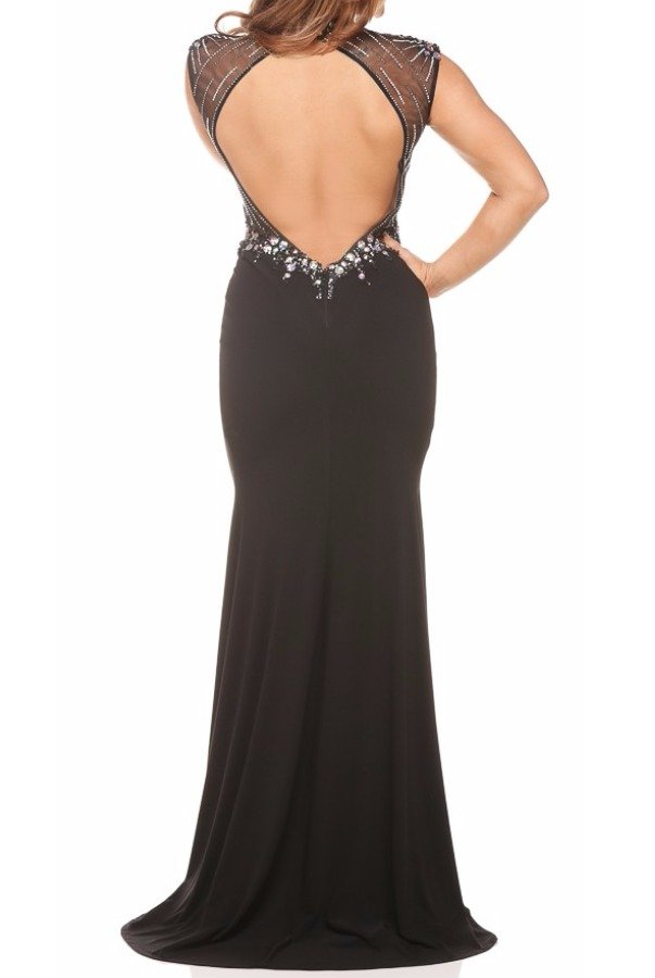 Nina Canacci Crystal Encrusted Black Evening Gown Dress 7526