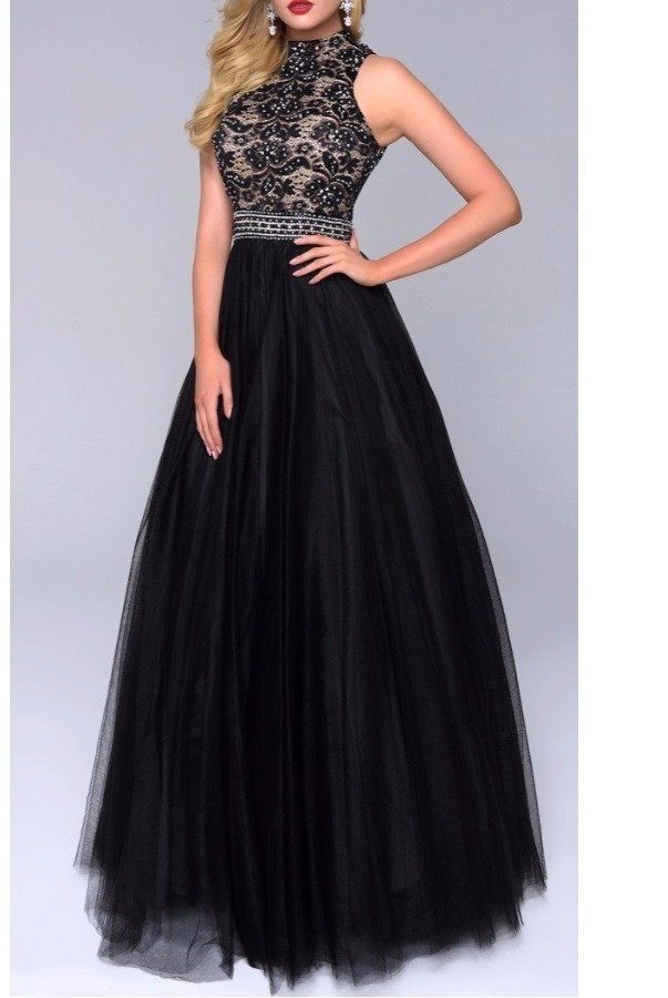 Nina Canacci Enchanting Black Ball Gown Dress 1247