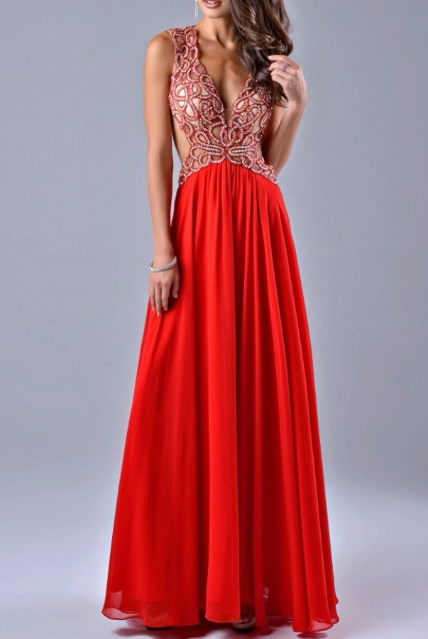Nina Canacci Dramatic Beaded Cutout Red Gown Dress 7400