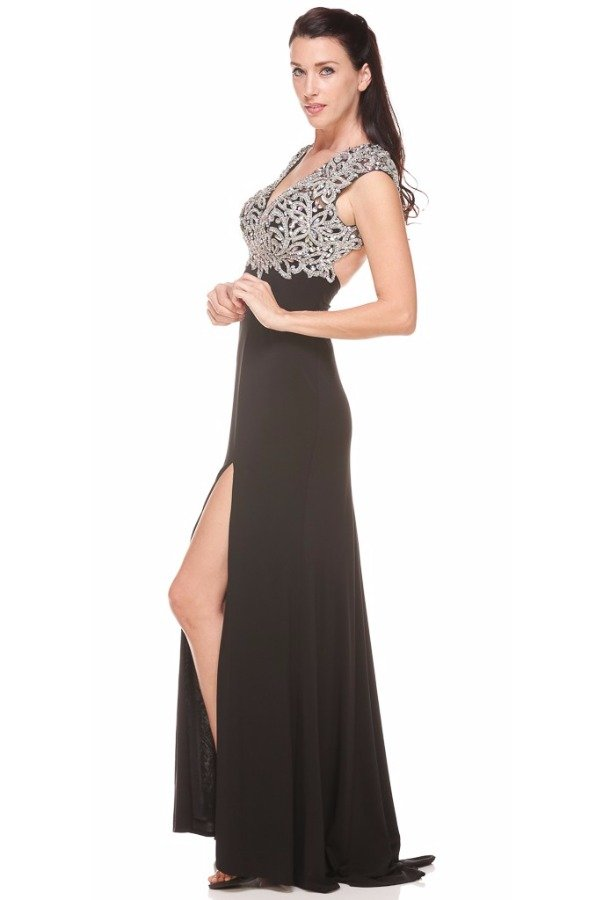 Nina Canacci Cap Sleeve Applique Black Evening Gown Dress 1094