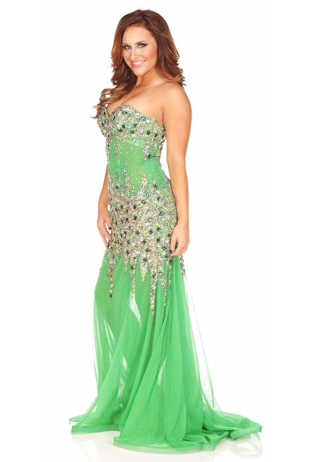 Jasz Couture Strapless Emerald Jeweled Gown Dress 4823