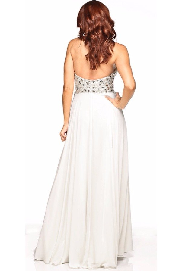 Jasz Couture White Sweetheart Gown Ornate Waist Embellishments