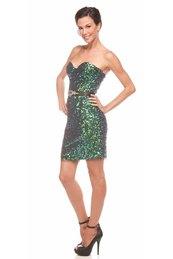 Mac Duggal Strapless green Sequin Peacock Cocktail Dress