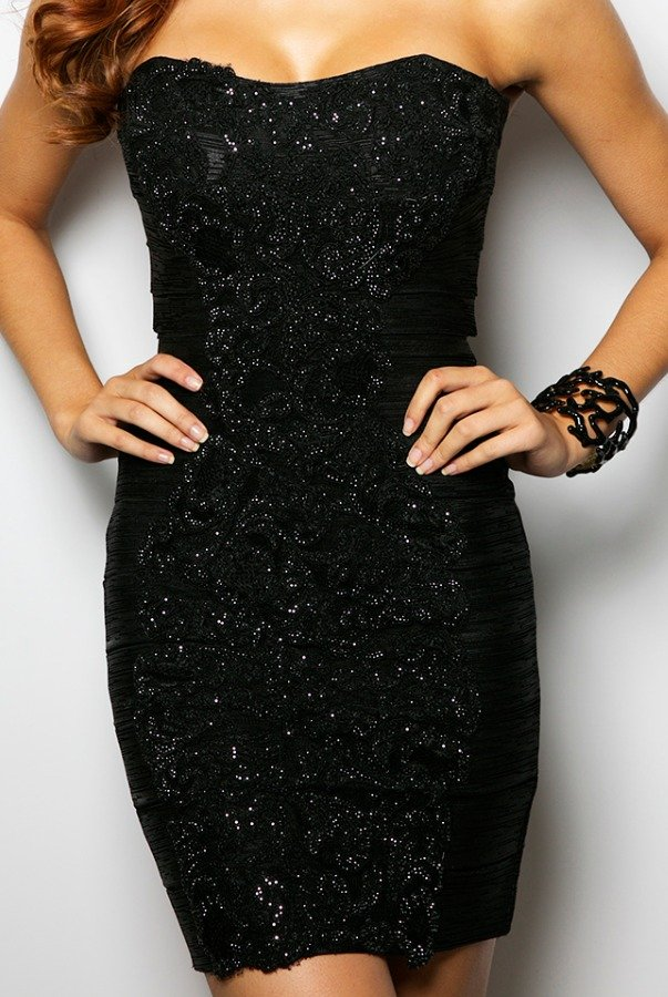 Jovani Beaded Lace Bandage Black Cocktail Dress 20878