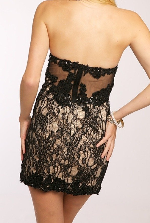 Jovani Burst of Lace Dress JVN98611 Nude Black
