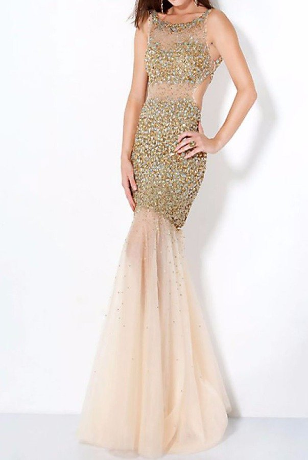 Jovani Gold Sparkle Sheer Mermaid Dress 171100A
