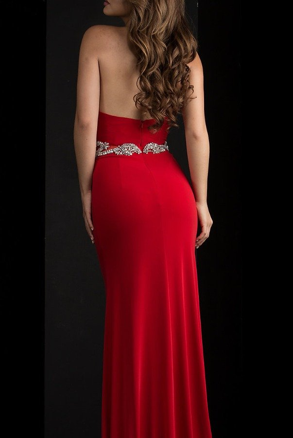 Jasz Couture Ravishing Regal Ruby Red Halter Gown 5631