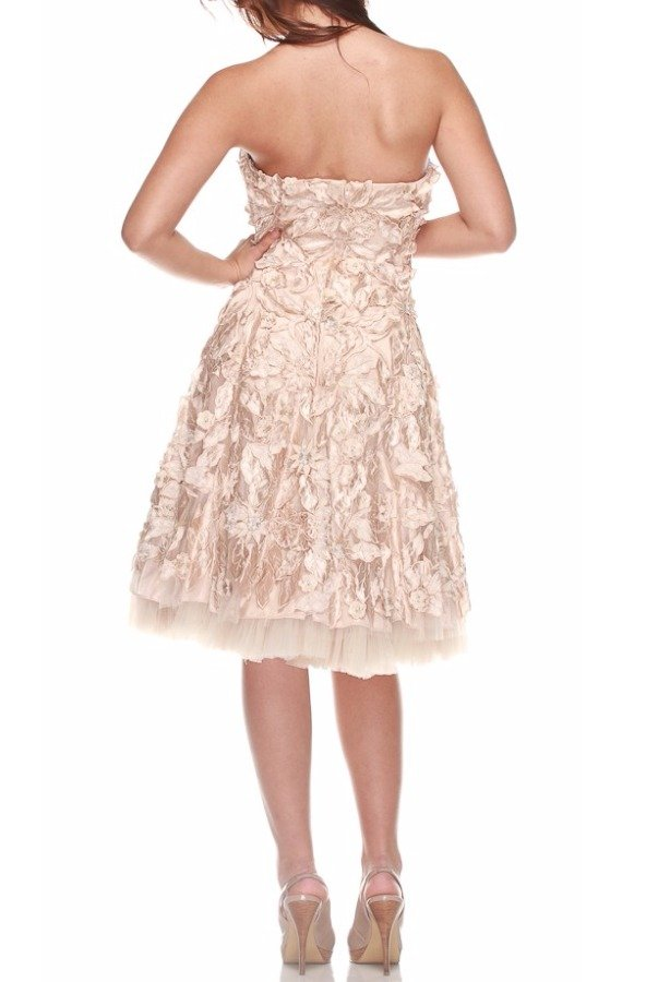 Jovani Full of Flower Nude and Cafe Day Cocktail Dress