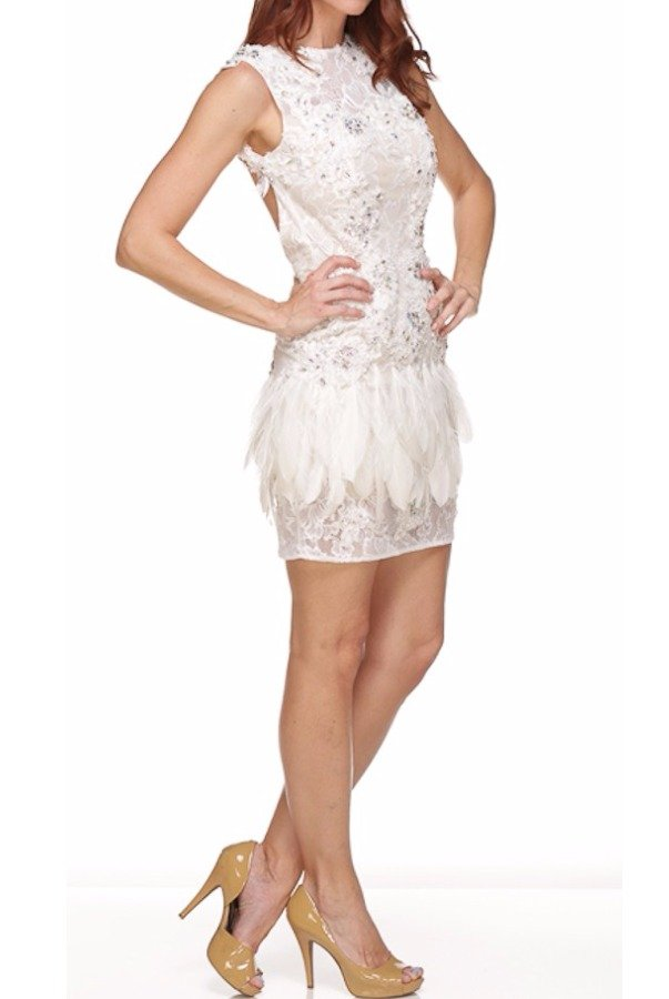 Jovani Glamorous Short Ivory Lace Dress with Feathers