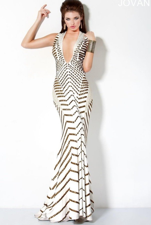 Jovani Ivory Gold Studded Gown Red Carpet Dress 9420