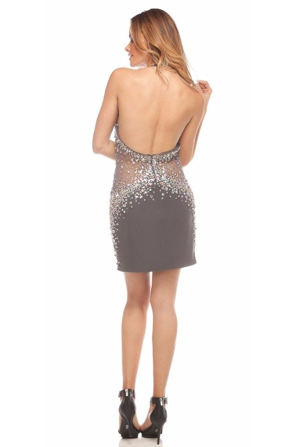 Jovani Gunmetal Crystal Encrusted Sheer Halter Dress 20398