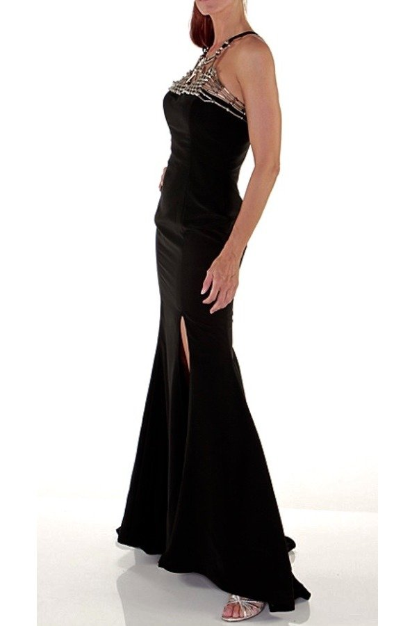 Jovani Black Metal Beaded Slit Formal Gown Evening Dress