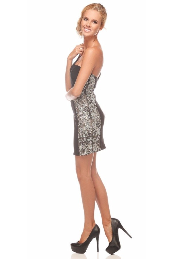 Jovani One Shoulder Crystal Encrusted Short Dress 20404