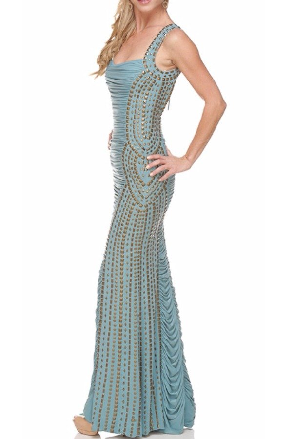 Jovani Light Pastel Blue Richly Pleated Gown Open Back