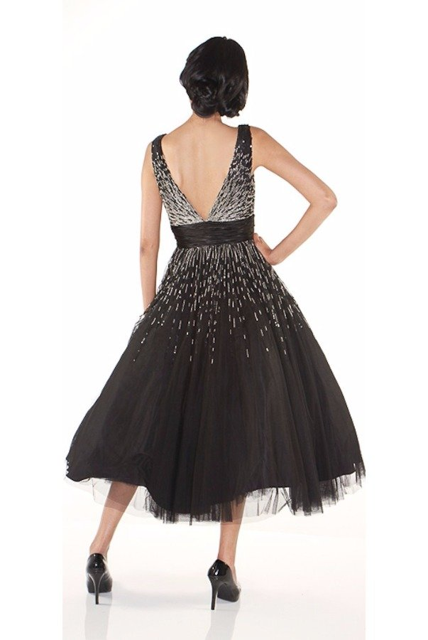 Jovani Scattered Sequin Black Midi Tea Dress Deep V Full Skirt