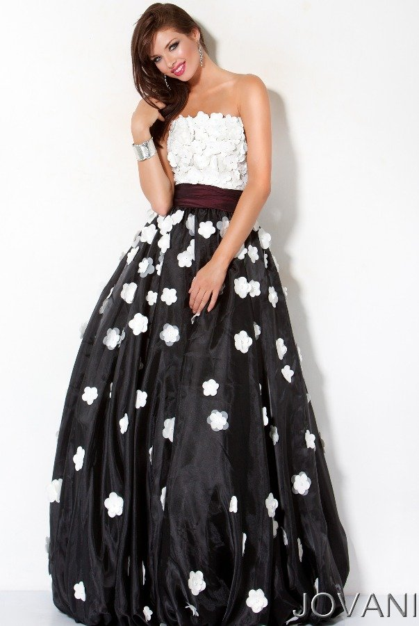 Jovani Black and White Floral Applique Long Dress Gown 171835 | Poshare