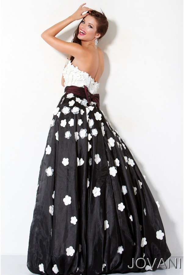 Jovani Black and White Floral Applique Long Dress Gown 171835