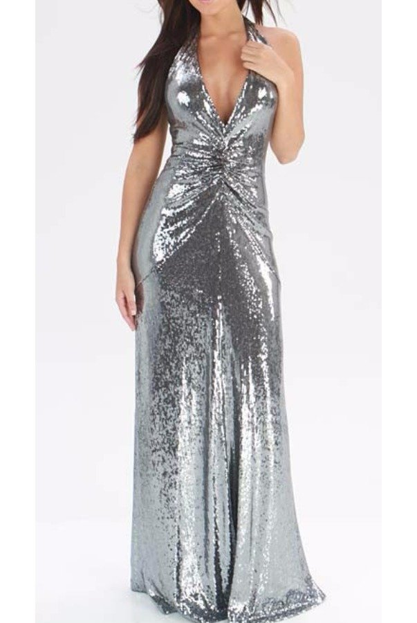 Nicole Miller Pewter Silver Sequin Deep V Gown