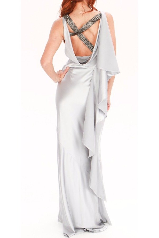 Nicole Miller Silver Grey Silk Shine Dress