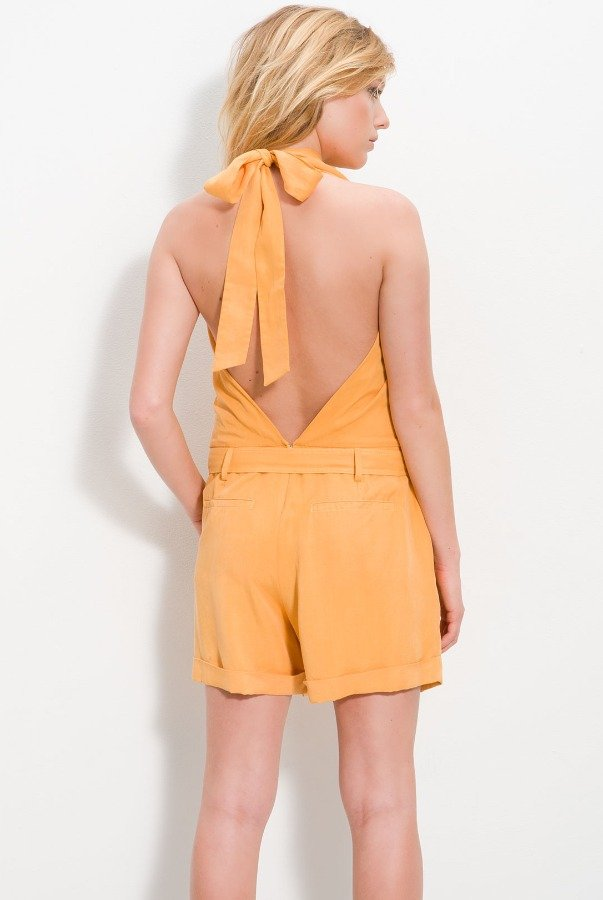 Robert Rodriguez Vibrant Blood Orange Silk Romper