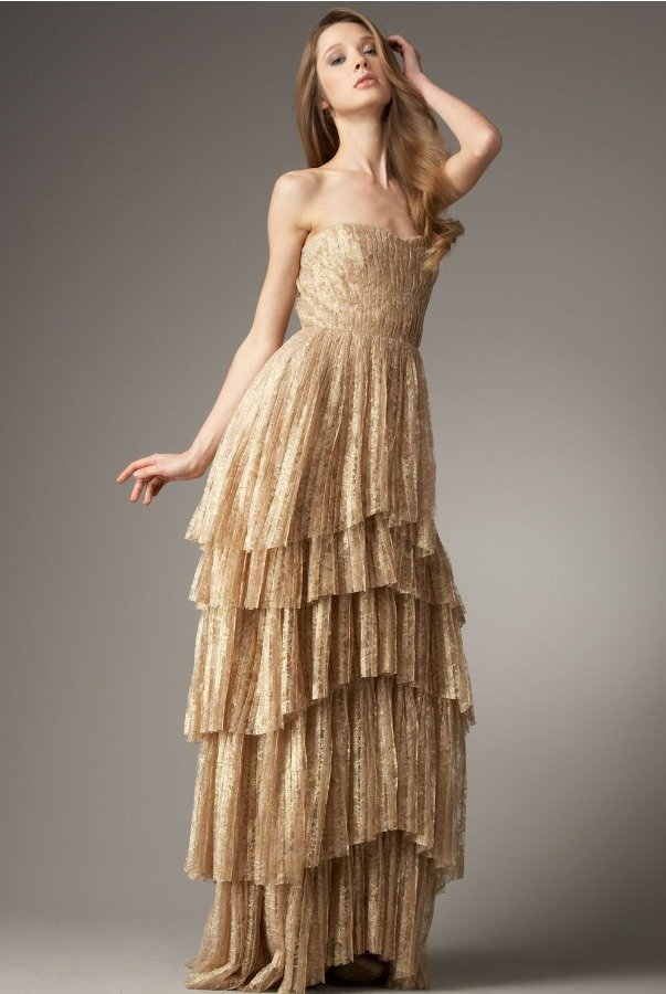 Robert Rodriguez Lucy Nude Gold Tiered-Bottom Gown Dress