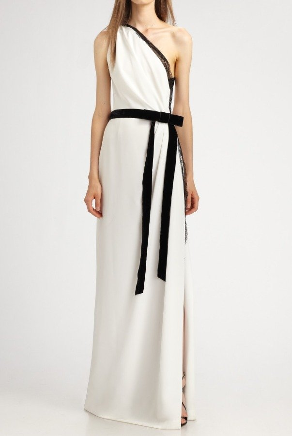 Robert Rodriguez White Asymmetrical Mandy Gown