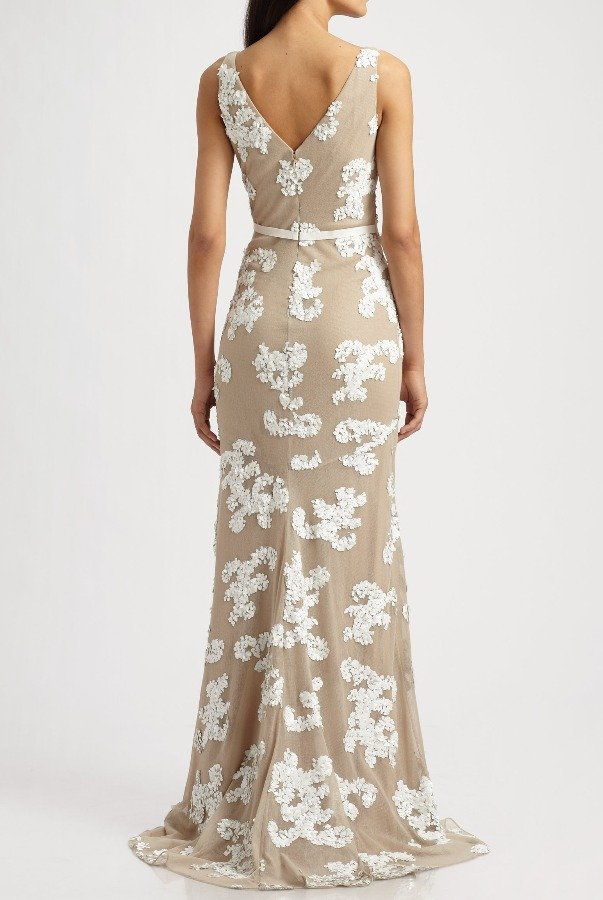 Robert Rodriguez Beige Ashley Sequin Embellished Gown Dress