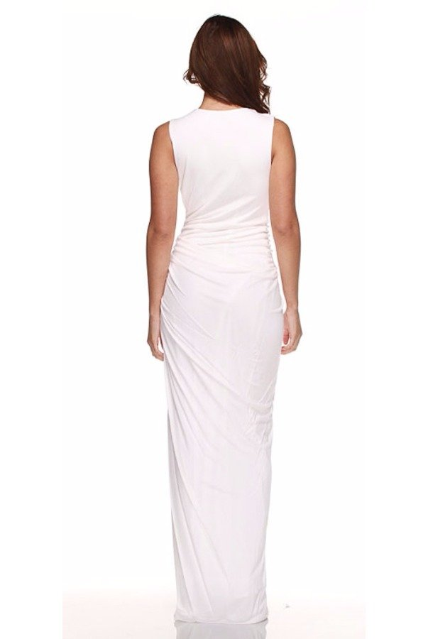 Robert Rodriguez Chloe White Sleeveless Long Evening Dress Bridal