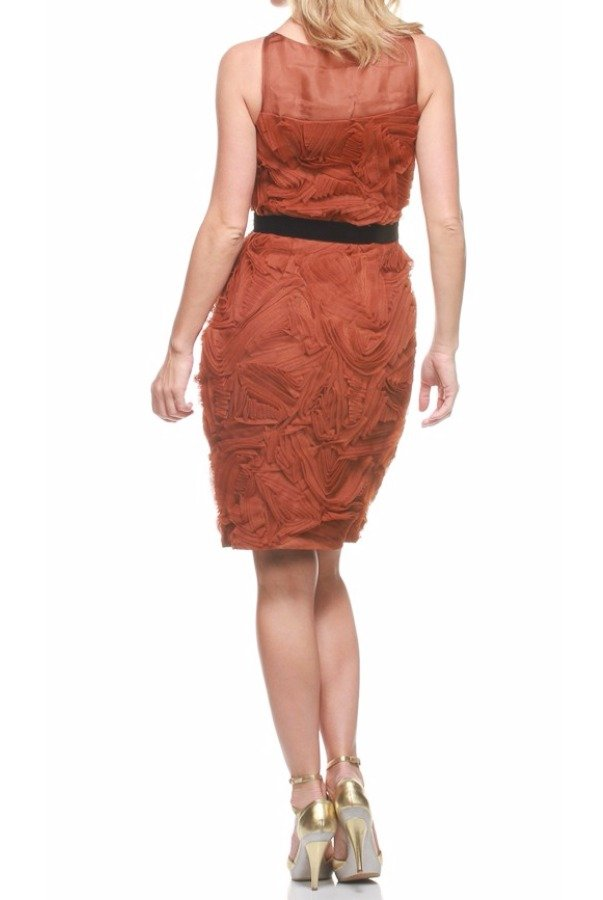 Robert Rodriguez Copper Tone Silk Mesh Textured Dress