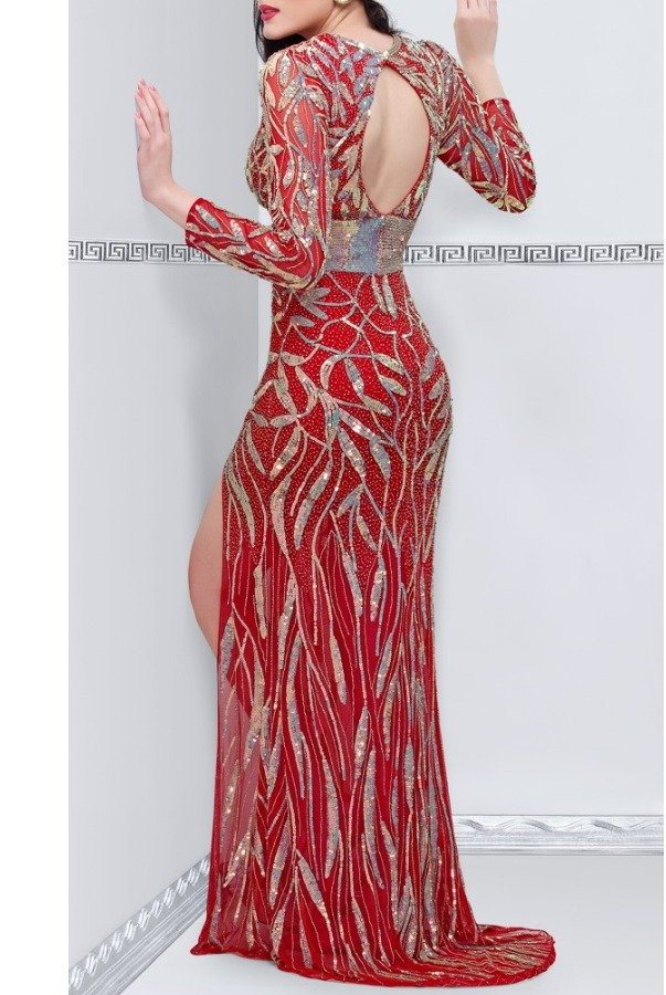 Primavera Red Beaded Deep V Gown 9871