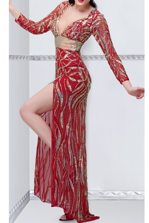 Primavera Couture Red Beaded Deep V Gown 9871