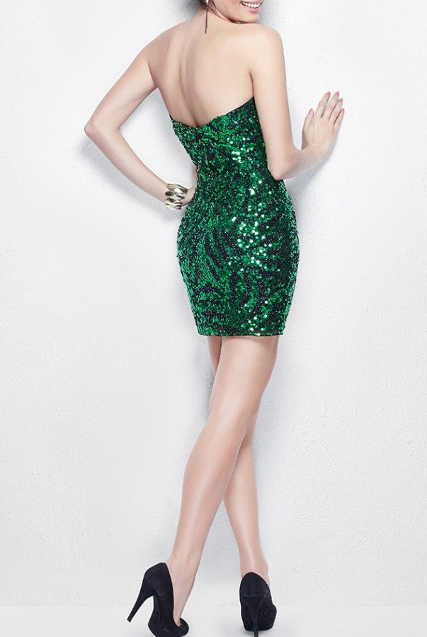 Primavera Emerald Green Sequin Short Dress 9914