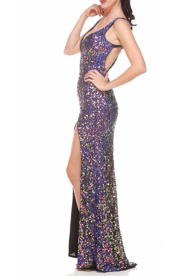 Primavera Couture Crystalline Sequin Gown Dress 9500