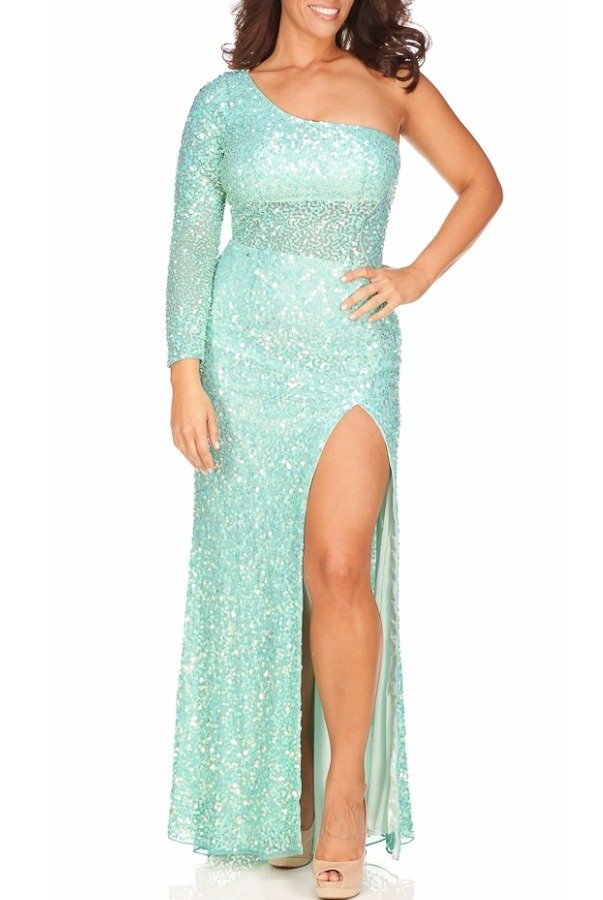 Primavera 9818 Aqua Mint Sequin One Shoulder Gown Dress